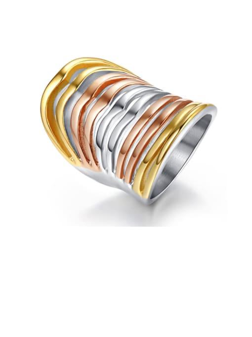 CONG Titanium Steel Irregular Statement Band Ring 0