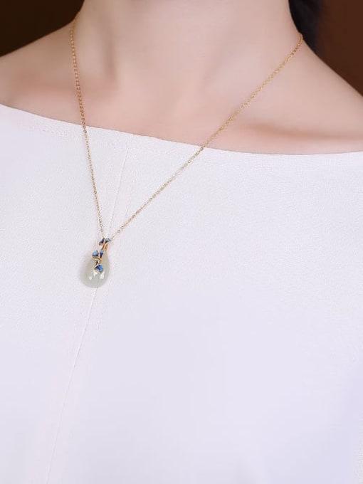 DEER 925 Sterling Silver Jade Water Drop   Enamel Vintage Pendant 1