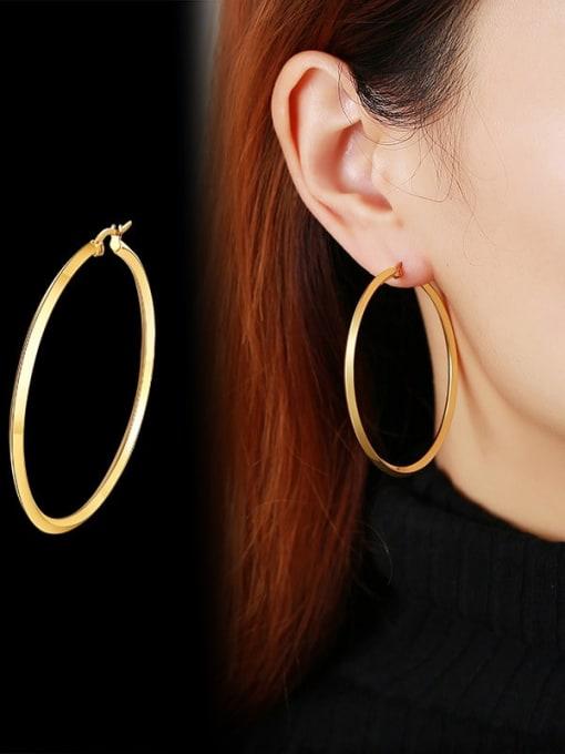 CONG Titanium Steel Geometric Minimalist Hoop Earring 3