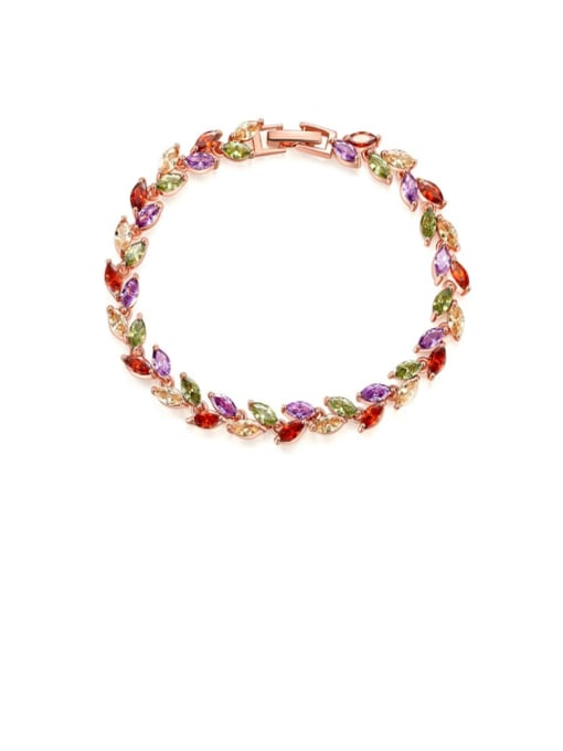 Rose gold mixed color zircon Brass Cubic Zirconia Multi Color Leaf Dainty Bracelet