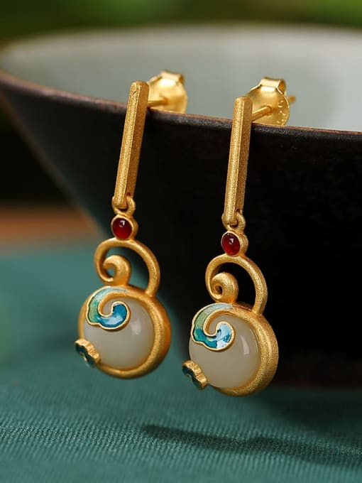 DEER 925 Sterling Silver Jade Enamel Vintage Geometric  Earring and Necklace Set 1