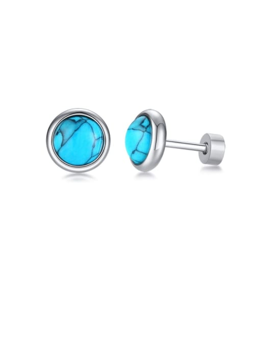 Style one Stainless steel Turquoise Round Vintage Stud Earring