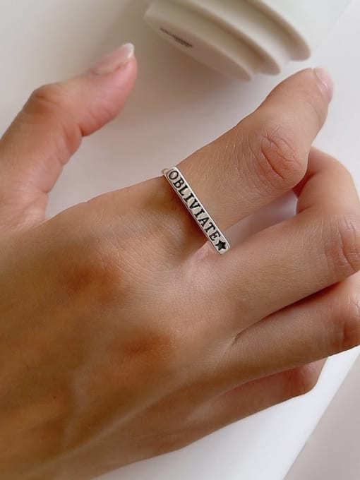 Letter ring j161 2.3g 925 Sterling Silver Hollow Geometric Vintage Band Ring