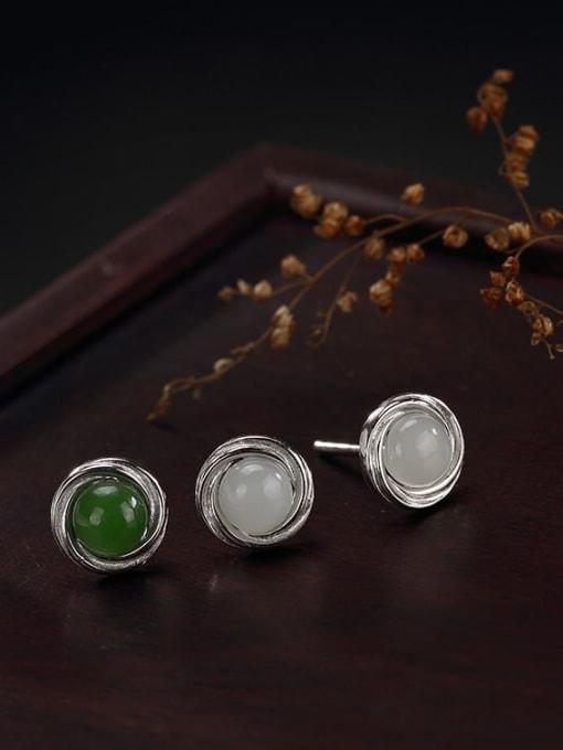 DEER 925 Sterling Silver Jade Geometric Cute Stud Earring 1