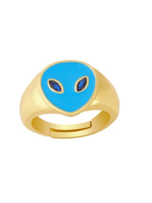blue Brass Enamel Heart Minimalist Band Ring