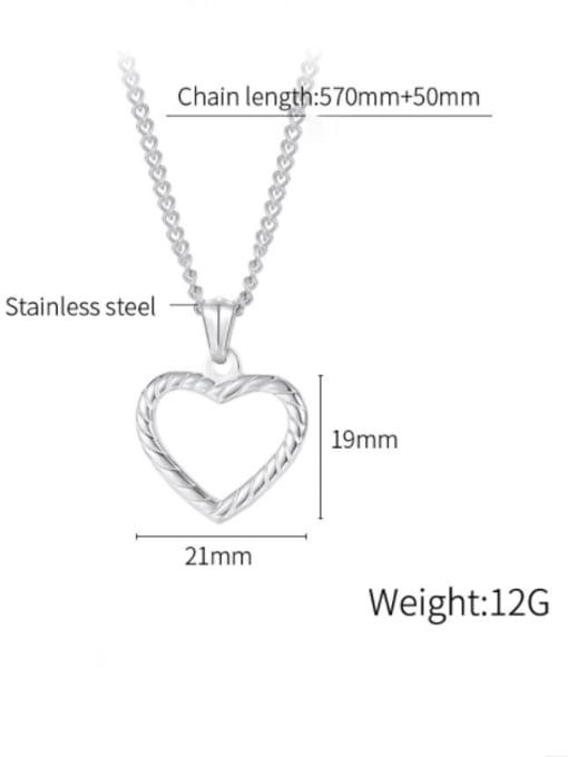 Open Sky Titanium Steel Minimalist  Hollow Heart  Pendant 4