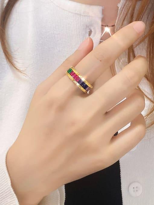 DUDU Brass Cubic Zirconia Geometric Luxury Band Ring 1