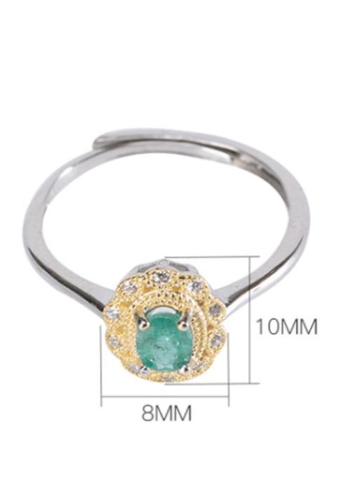 DEER 925 Sterling Silver Emerald Geometric Vintage Band Ring 2
