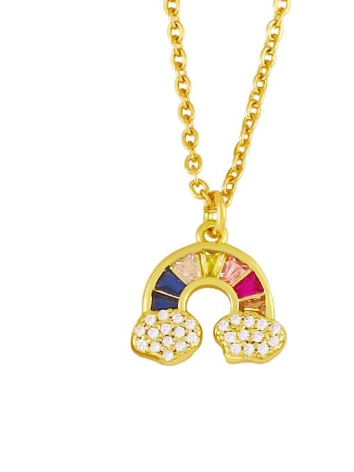 B Brass Cubic Zirconia  Vintage Rainbow Pendant Necklace