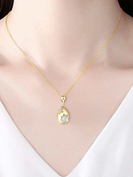 BLING SU Brass Cubic Zirconia Water Drop Vintage Necklace 1