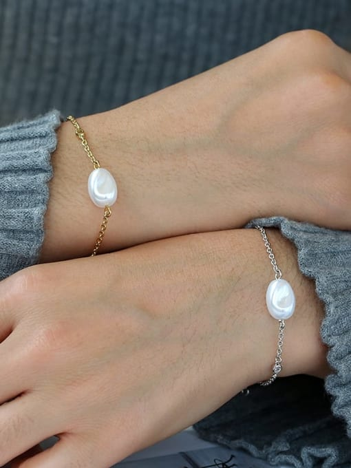 CHARME Brass Freshwater Pearl Irregular Minimalist Link Bracelet 1