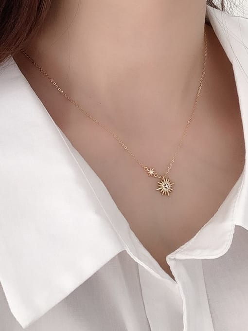 Boomer Cat 925 Sterling Silver Cubic Zirconia Flower Minimalist Necklace 2