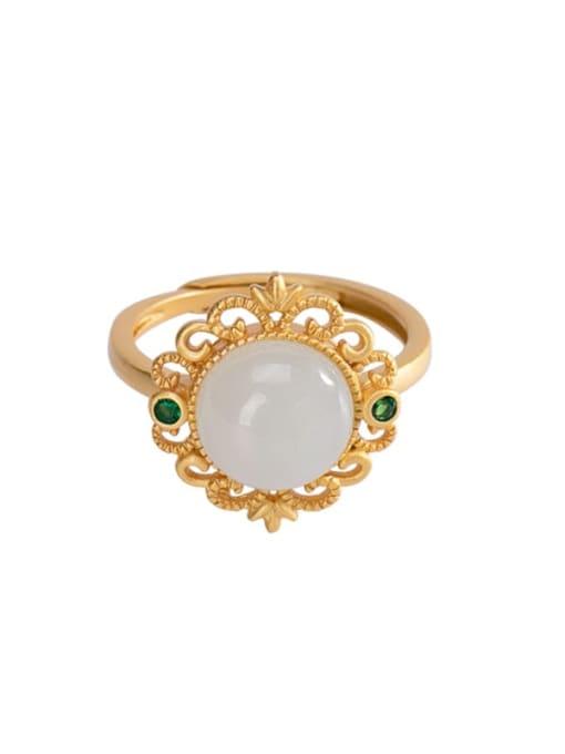 DEER 925 Sterling Silver Jade Flower Vintage Band Ring 0