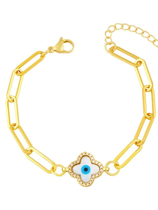 E Brass Enamel Evil Eye Hip Hop Link Bracelet