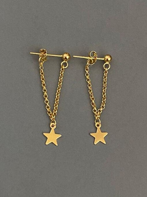 A TEEM Titanium Tassel Minimalist Five-pointed star Drop Earring