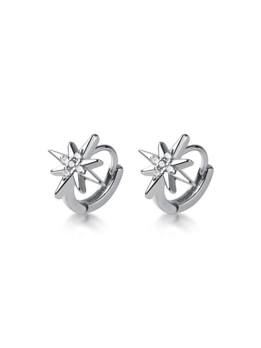 Rosh 925 Sterling Silver Cubic Zirconia Flower Minimalist Huggie Earring 4