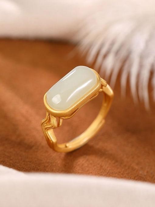 DEER 925 Sterling Silver Jade Geometric Minimalist Band Ring