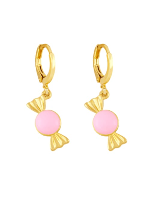 Pink Brass Enamel Irregular Candy Trend Huggie Earring