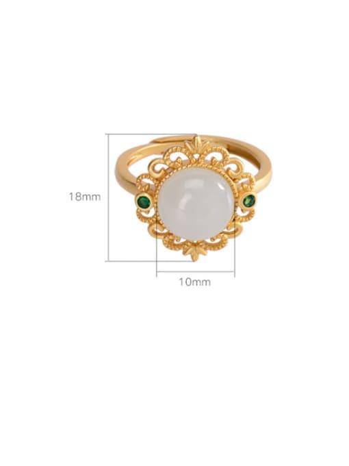 DEER 925 Sterling Silver Jade Flower Vintage Band Ring 2