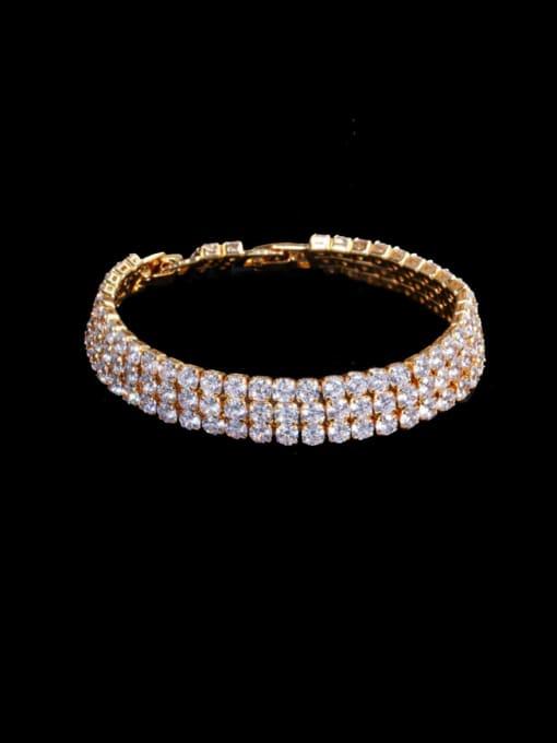 L.WIN Brass Cubic Zirconia Geometric Classic Bracelet