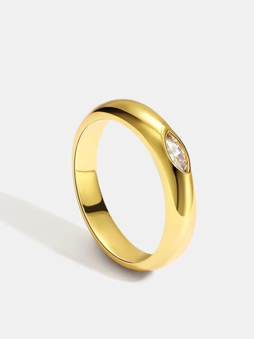 CHARME Brass Rhinestone Geometric Minimalist Band Ring 0