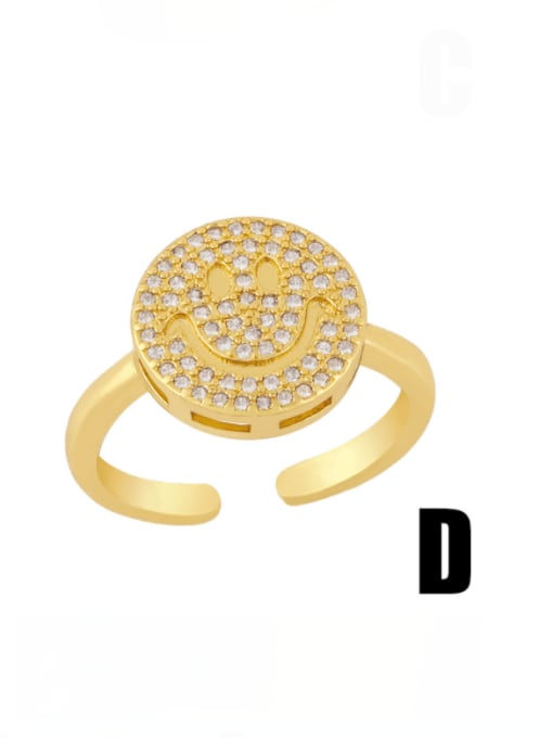 D Brass Cubic Zirconia Smiley Vintage Band Ring