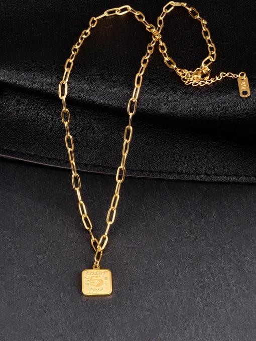 A TEEM Titanium Steel Geometric Vintage Hollow Chain Necklace