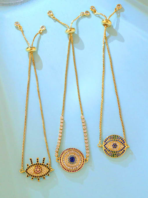CC Brass Cubic Zirconia Evil Eye Vintage Link Bracelet 4