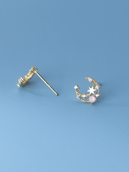 Rosh 925 Sterling Silver Cubic Zirconia Moon Cute Stud Earring 1