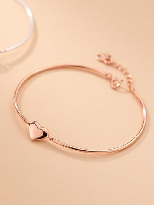 Rosh 925 Sterling Silver Smooth Heart Minimalist Bracelet 2