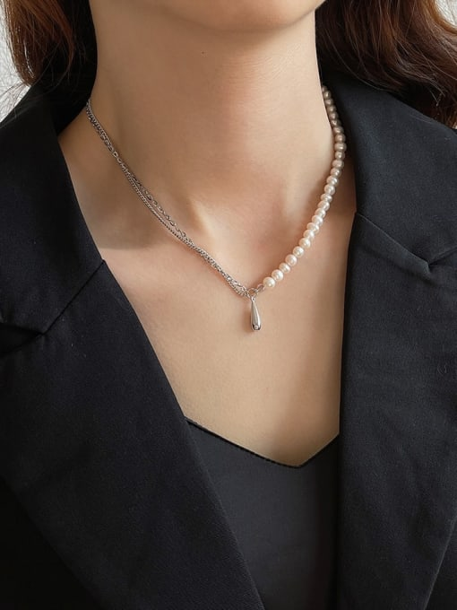 Boomer Cat 925 Sterling Silver Imitation Pearl Water Drop Minimalist Necklace 1