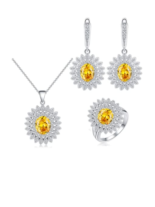 L.WIN Brass Cubic Zirconia  Dainty Geometric Earring Ring and Necklace Set