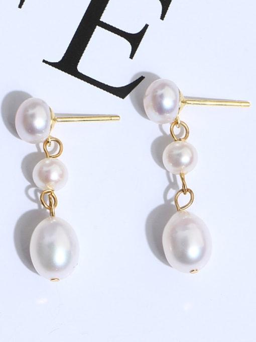 RAIN Brass Freshwater Pearl Water Drop Minimalist Long Drop Earring 2