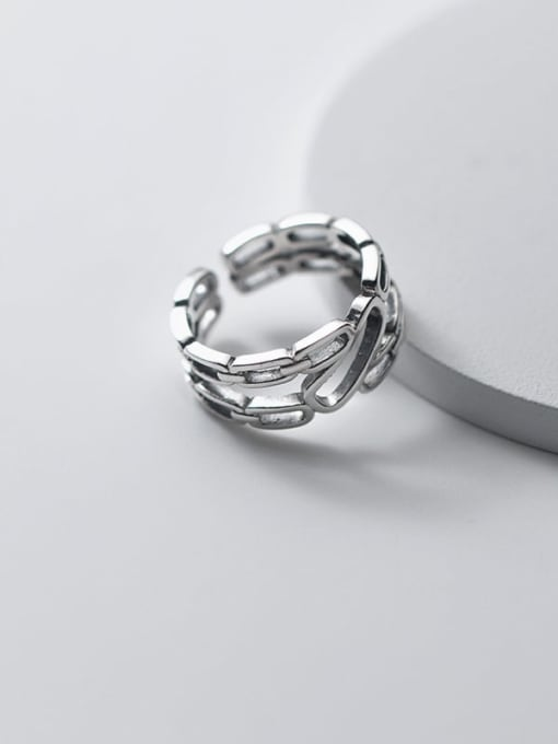 Rosh 925 Sterling Silver Geometric Vintage Band Ring 1