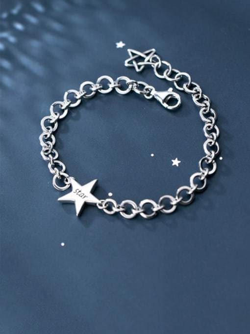 Rosh 925 Sterling Silver  Minimalist  Pentagram hollow chain Link Bracelet