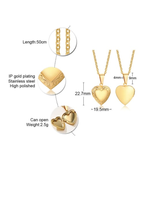 Style one gold Stainless steel Heart Minimalist Necklace