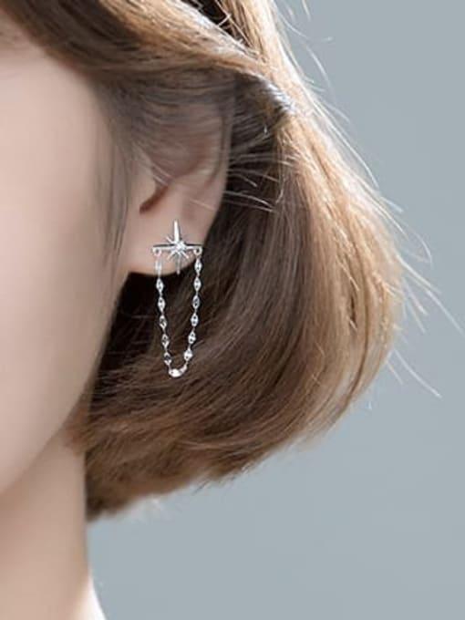 Rosh 925 Sterling Silver Cubic Zirconia Asymmetry Moon Tassel Minimalist Huggie Earring 3