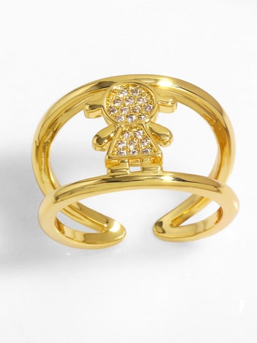 F Brass Cubic Zirconia Heart Vintage Band Ring