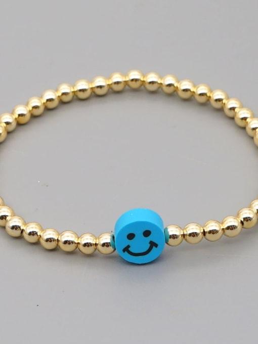 QT B200203G Stainless steel Polymer Clay Smiley Bohemia Beaded Bracelet