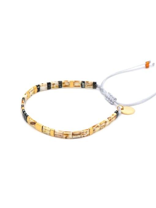 Roxi Stainless steel Tila Bead Geometric Bohemia Handmade Weave Bracelet 2