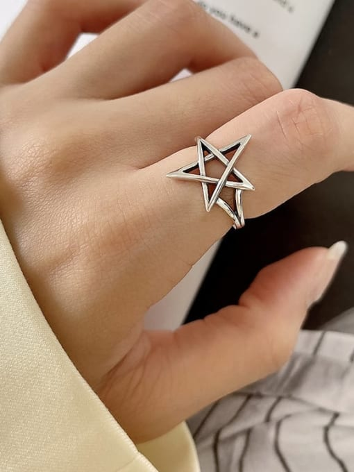 Five pointed star ring j198 2.4G 925 Sterling Silver Cross Minimalist Band Ring