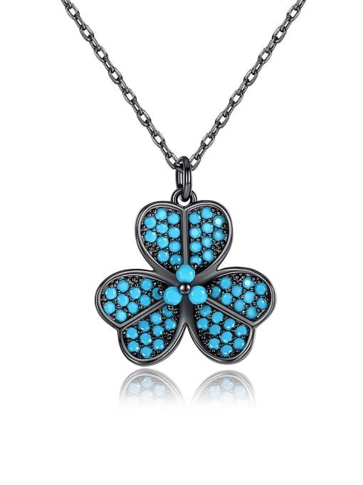 BLING SU Copper Cubic Zirconia Flower Dainty Necklace
