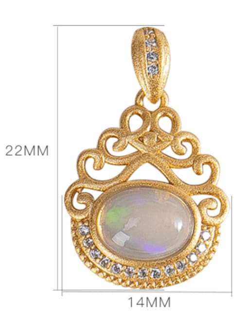 DEER 925 Sterling Silver Opal Vintage Irregular  Pendant 3