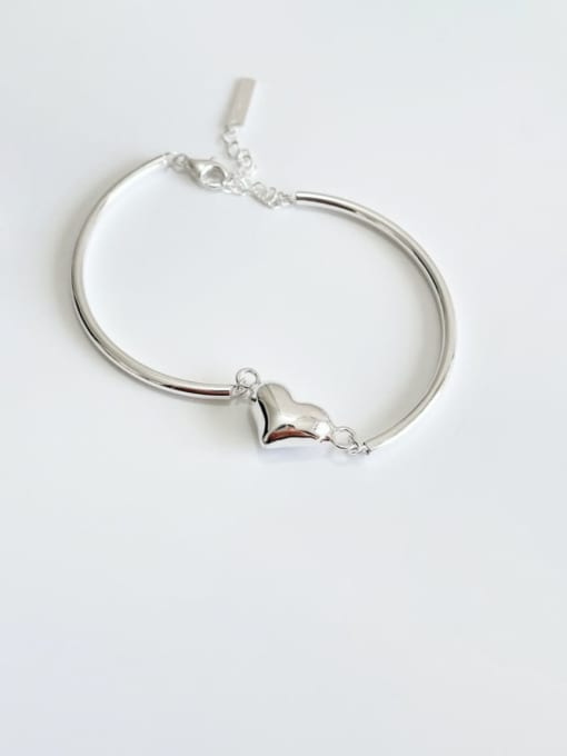 Boomer Cat 925 Sterling Silver Heart Minimalist Adjustable Bracelet 0