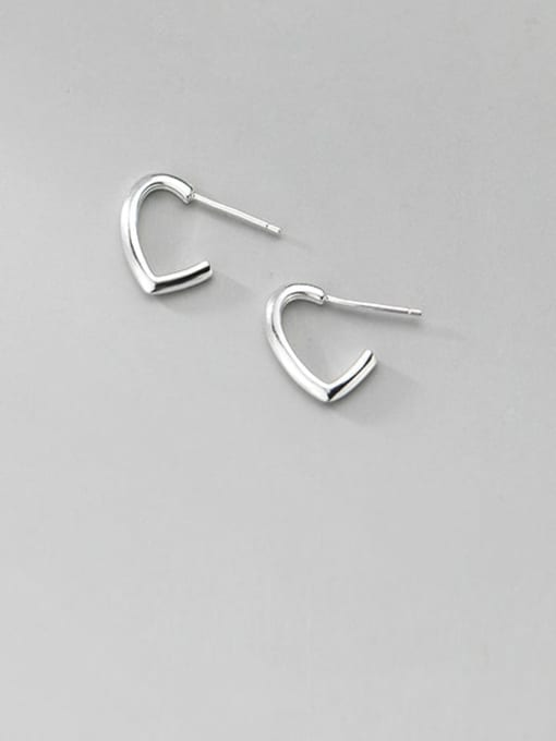 white gold 925 Sterling Silver Heart Minimalist  Simple line hook  Stud Earring