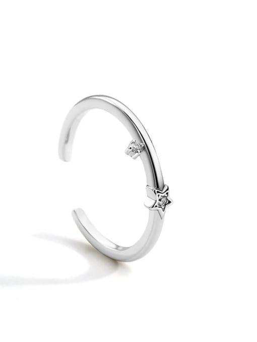 Platinum star ring Brass Cubic Zirconia Irregular Minimalist Band Ring