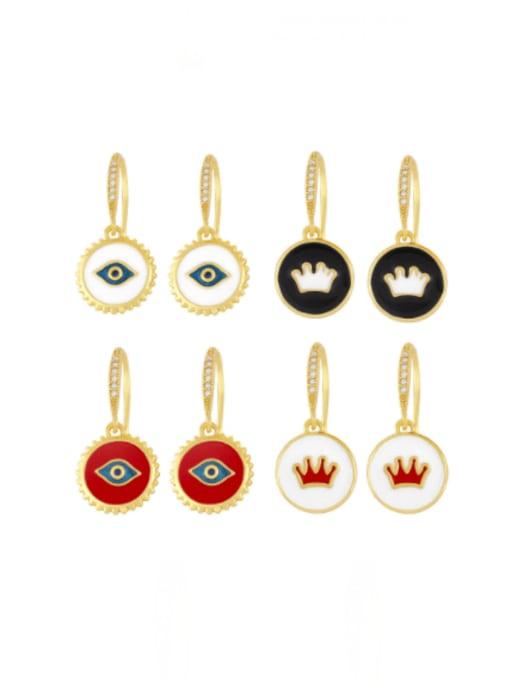 CC Brass Enamel Crown Vintage Huggie Earring