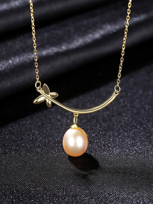PinK 8C12 925 Sterling Silver Freshwater Pearl Flower Minimalist Necklace
