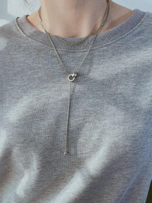 Open Sky Titanium Steel Tassel Minimalist Lariat Necklace 3