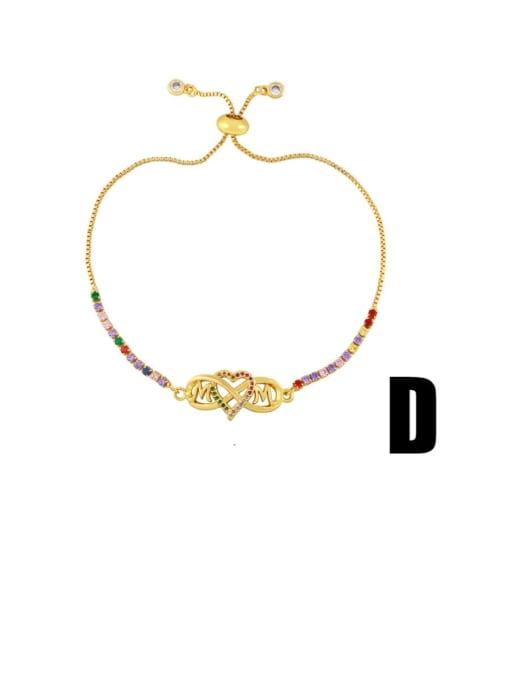 D Brass Cubic Zirconia Letter Vintage Bracelet